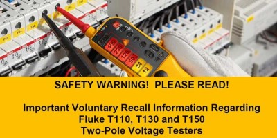 Recall Of Fluke T110, T130 and T150 Two-Pole Testers