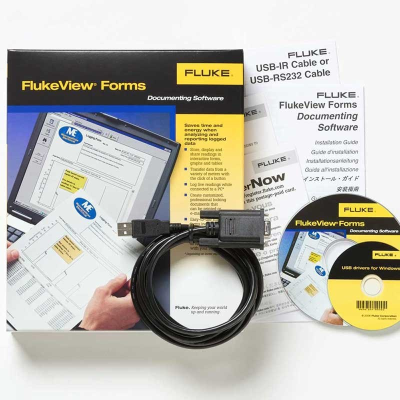 FlukeView Forms Software with cable